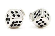 Black Gemstone Silver Dice Cufflinks - Sheinside.com #SheInside