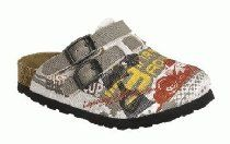 Birkis clogs Kay in size 26.0 N EU made of Birko-Flor in Cars Beige with a narrow insole