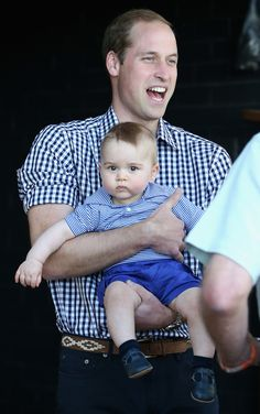April 2014:  Prince William and Prince George during royal tour of Australia and New Zealand