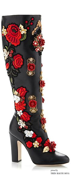 Dolce & Gabbana Rose Embroidered High Nappa Boot ♔ SS 2015 ♔ Tres Haute Diva
