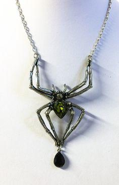 Alchemy Gothic Emerald Venom Spider Necklace by PollysAntiques