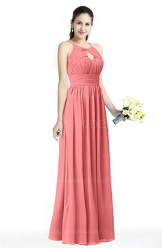 Coral Traditional A-line Jewel Sleeveless Zipper Sash Bridesmaid Dresses (Style D15346)