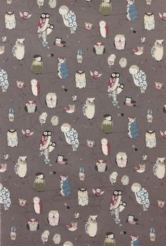 Alexander Henry Spotted Owl Fabric in Smoke - By the Yard Owl Fabric, Pillow Fabric, Fabric Ribbon, Animal Shelter Donations, Spotted Owl, Conversational Prints, Alexander Henry Fabrics, Owl Patterns, The Time Is Now