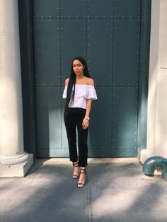 Leave shoulders bare in this super-soft off the shoulder top. Finished with a ruffle detail, opt for clean lines on your bottom half for an on-trend style. #Topshop