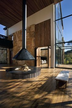 View the full picture gallery of Botanique Hotel & Spa Hanging Fireplace, Home Fireplace, Modern Fireplace, Fireplace Design, Fireplaces, Home Interior Design, Interior Architecture, Indoor Fire Pit, My Dream Home