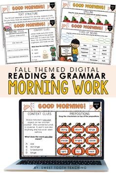 Fall themed ELA morning work can be used to help your students start off their day. This resource can also be used to review past skills/strategies during small groups or for early finishers. Includes comprehension, grammar, and writing skills targeting 3rd-4th grade standards. Morning work resource includes 9 weeks of activities! Compatible with PowerPoint or Google Slides. #thirdgradefallactivities #Falllessonsandactivities #morningwork #digitalmorningwork Fun Fall Activities, Hands On Activities, Classroom Hacks, Classroom Activities, Sixth Grade, Third Grade, Interactive Board, Context Clues, Early Finishers