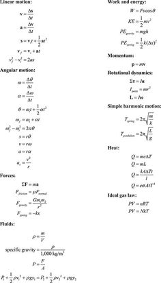 Many people find Physics to be a difficult subject to approach. Well now you have some tools to help you along the way. This handy list of physics equations organized by topic contains the most common equations youll run across. Physics Help, Basic Physics, Physics Notes, Physics Experiments, Modern Physics, Physics And Mathematics, Engineering Science, Quantum Physics, Physical Science