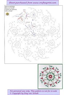 ED090 Flower mandala on Craftsuprint designed by Emy van Schaik - Stitching with beads - Now available for download!