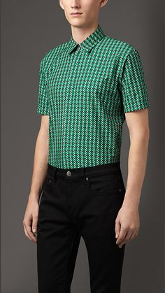 Burberry London Dark Pigment Green Modern Fit Dogtooth Check Cotton Shirt - A modern fit cotton shirt with an abstract dogtooth check design.  Tailored for a straight fit, the short-sleeved design is finished with a point collar and concealed placket.  Discover men's tailoring at Burberry.com
