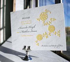 #letterpress save the date in #gray and #yellow