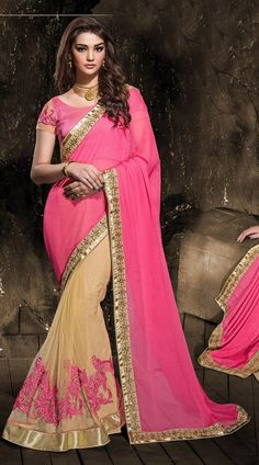 Marvellous Resham Work Dark Cream Net Pink Chiffon Pallu Saree MV301463  Trendy dark cream and pink color chiffon, net fabric saree with matching brocket, net fabric blouse. This beautiful saree has pink color floral embroidery, stone work on the skirt part with beige, copper color zari embroidery border with two side weaving. The blouse of this saree can be stitched in the maximum bust size of 42 inches. The saree length is 5.50 Mtr and the Blouse Length is 0.80 Mtr.