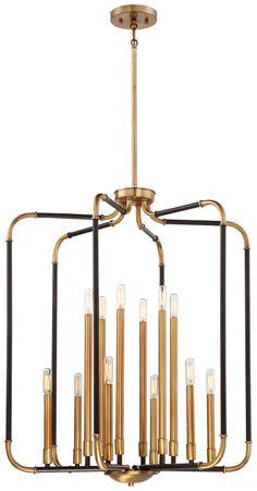 Minka-Lavery - - Liege - 12 Light Chandlier - Aged Kinston Bronze w/Brass Highlights Foyer Chandelier, Rectangle Chandelier, Chandeliers, Wall Sconce Lighting, Chandelier Lighting, House Lighting, Ceiling Lighting, Wall Sconces, Modern Lighting