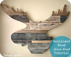 Moose head wall art made from reclaimed wood from pallets