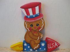 HP Gingerbread firework Patriotic ginger Shelf Sitter hand painted