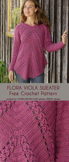 Flora Viola Sweater + Free Crochet Pattern #crochetpattern #freepattern #tunic #sweaterdress #tunicdress Crochet Shirt, Crochet Jacket, Crochet Cardigan, Crochet Sweaters, Crochet Cross, Free Crochet, Knit Crochet, Crochet Woman, Crochet Fashion