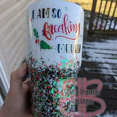I would choose a different text but I love the colors! I would choose a different text but I love the colors! Diy Tumblers, Custom Tumblers, Glitter Tumblers, Tumblr Cup, Christmas Tumblers, Custom Cups, Diy Mugs, Tumbler Designs, Glitter Cups