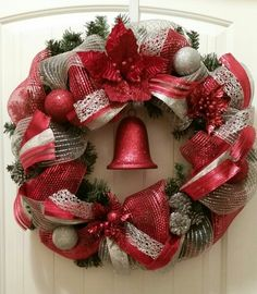 """Christmas wreath: silver and red, evergreen, 16"""""""