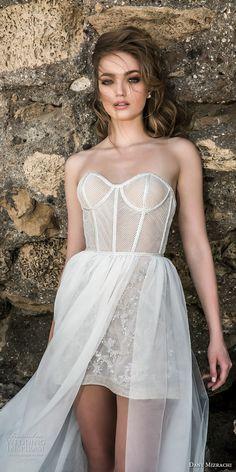 dany mizrachi 2018 bridal strapless sweetheart neckline bustier bodice mini skirt short wedding dress a line overskirt (7) zv