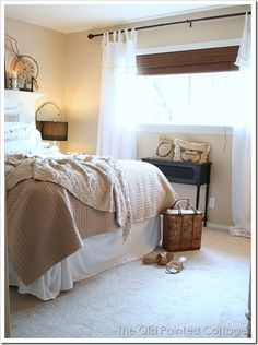 Love the blind with white curtains... may work on my little window in my bedroom