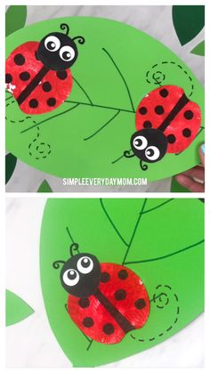 Apple Stamp Ladybug Crafts For Kids, Apple Art Projects, Spring Art Projects, Spring Crafts For Kids, Easy Art Projects, Diy Crafts For Kids, Projects For Kids, Gifts For Kids, Fun Crafts, Art For Kids