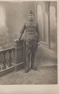WWI A.E.F. soldier with pistol belt and sharpshooter badge by hoosiermarine, via Flickr