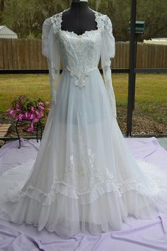 1970s Chiffon Lace Ruffle Vintage Wedding by VintageWedding1, $275.00