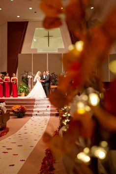 fall wedding ceremony, full length wedding dresses, church wedding photos #2014 #home decor #ideas #Easter #spring wedding #Craft #food www.dreamyweddingideas.com