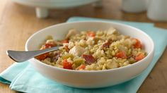 An updated version of classic chicken rice casserole using brown rice and barley.