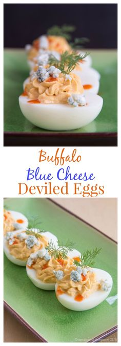 Buffalo Blue Cheese Deviled Eggs are a spicy twist on the classic protein-packed  appetizer or snack, lighted up with Greek yogurt. Use your Easter #SundaySupper leftovers! | cupcakesandkalechips.com | gluten free and vegetarian recipe