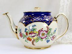 #Sadler Teapot, 1950s Floral Porcelain Tea Pot - England - 12555 by TheVintageTeacup on Etsy