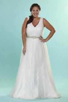 Sydneys Closet SC5066 Plus Size Destination Wedding Dress