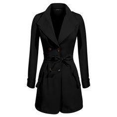 Finejo Women's Double Breasted Slim Fitted Dust Coat Winter Trench... ($23) ❤ liked on Polyvore featuring outerwear, coats, slim fit trench coat, double-breasted trench coat, trench coat, slim fit coat and slim coat