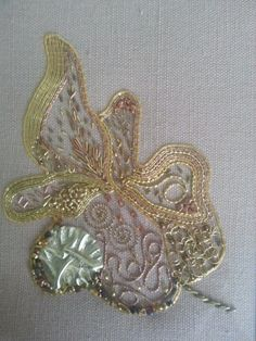 Leaf in Goldwork and Beads