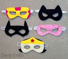 Free girl felt superhero mask patterns for Wonder Woman, Catwoman, and Batgirl. Great for superhero birthday party favors, dress up or Halloween costumes.