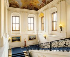 Blue Staircase at Schönbrunn Palace, Vienna, - If you want to live like an emperor or empress for some days, feel free to contact us.at/Suite-Schloss-Schoenbrunn/en/ Palace Interior, Interior And Exterior, State Room, Versailles, Stairways, Architecture Design, Sweet Home, Mansions, Vienna
