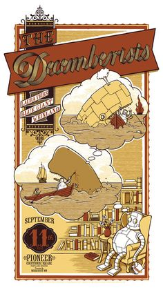 The Decemberists gig poster with great sperm whale motif.