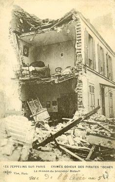 Zeppelin bomb damage in Paris