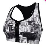 Zip me up push up crop top, Black and White- Running Bare.