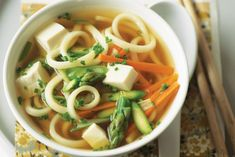 Miso soup with vegetables and tofu