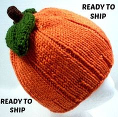Pumpkin Hat Fall Knit with Leaves baby preemie newborn toddler 3 6 9 12 18 months child teen adult Thanksgiving Halloween Costume