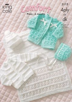 King Cole Baby Coat, Cardigan, Bonnet, Hat & Pram Cover 4 Ply & DK Knitting Pattern 3115 by King Cole Baby Cardigan Knitting Pattern Free, Baby Knitting Patterns, Cardigan Bebe, Baby Overall, Knitting For Kids, Free Knitting, Double Knitting, Baby Girl Patterns, Baby Pullover