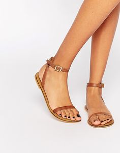 Image 1 ofASOS FINLAY Leather Flat Sandals