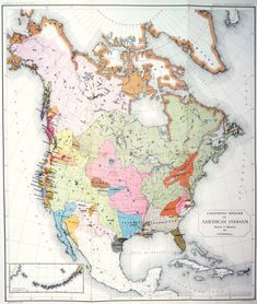 An 1891 map of Native American linguistic groups by John Wesley Powell