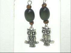 Green Bead Owl Charm Dangle Earrings by cynhumphrey on Etsy, $6.50