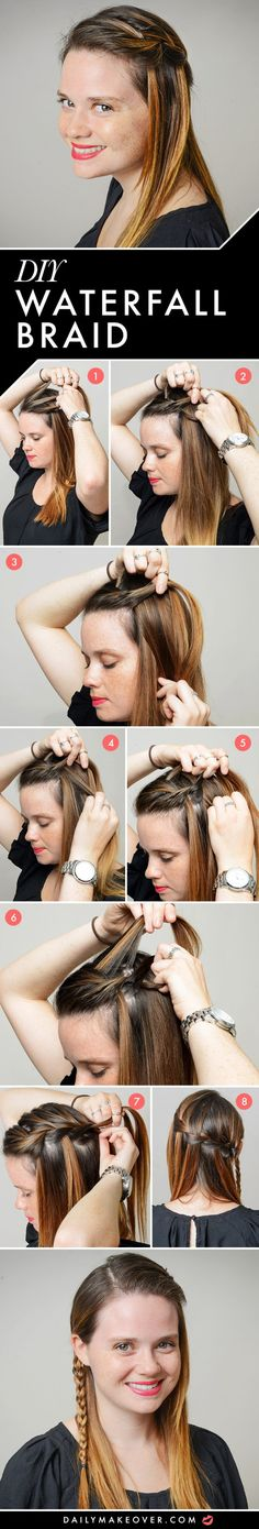 how to do a waterfall braid on yourself