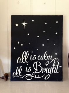 Christmas Holiday Decoration Painted Silent by TheBarnWoodSign/ is like to make this by pushing clear lights through a painted canvas...