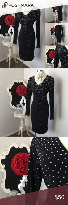 🌺 Carmen Marc Valvo  Gorgeous Black Studs Dress 🌺 Carmen Marc Valvo  Gorgeous Black Studs Dress - Front V High Neckline  - Long Sleeve - Silver Stud In Front and Both Sleeves - No Zipper - Dress is Lined  $69- New Size : Large  Fabric : 95% Polyester  - 5% Spandex  🌺 Accessories Not Included But Are also for Sale  Please Check out my Other Items in my GIRLe B Posh Shoppe'  Like us on FB   www.facebook.com/girleboutique Thanks For Looking & Always Let your Clothes get All the Attention 💋…