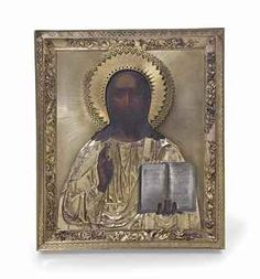 A SILVER-GILT ICON OF CHRIST PANTOCRATOR -   MARKED P. OVCHINNIKOV WITH THE IMPERIAL WARRANT, MOSCOW, 1866 -   Rectangular, Christ realistically painted, raising his right hand in a blessing, his left hand holding the Gospels, with an openwork halo, the vestments engraved with crosses and geometric motifs, the border chased and cast with scrolling bouquets and foliage, marked on lower edge  12¼ in. (31.1 cm.) high