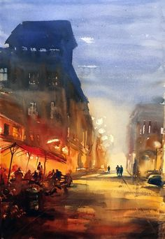 Outdoor Café at Night Watercolor Landscape, Watercolour, Outdoor Cafe, Uppsala, My Arts, Night, Street, Painting, Pen And Wash