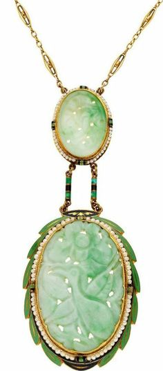 Art Deco Jade, Pearl, Enamel & Gold Necklace.